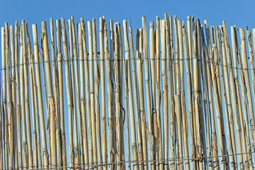 Old cane fence texture over blue sky