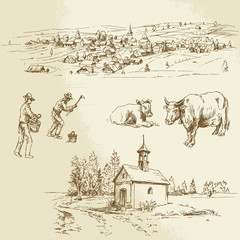 rural village, agriculture - hand drawn illustration