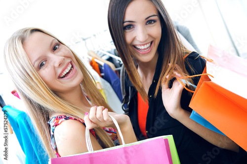 two young friends shopping together