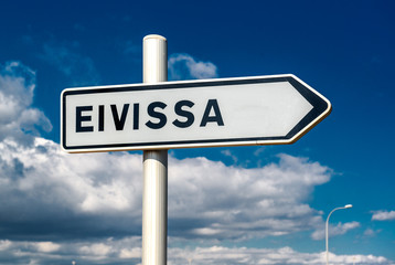 Eivissa signpost over cloudy sky background. Ibiza, Spain
