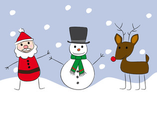 santa claus snowman and rudolph cartoon