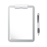 Clipboard with Sheets of Paper and a Pen
