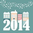 Cute christmas new year 2014 card with winter houses, vector