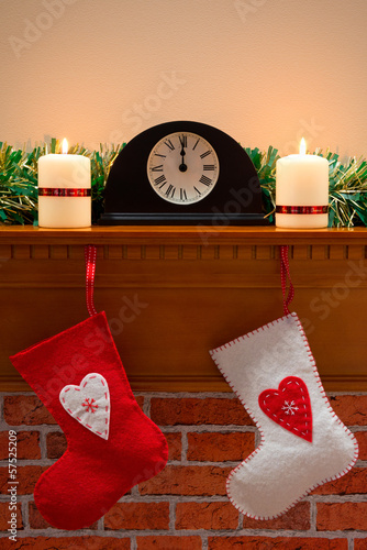 Christmas stockings on the mantlepiece