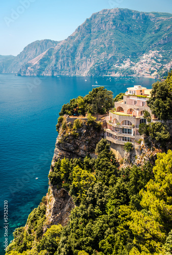 Luxury villa, mountain range and Mediterranean Sea