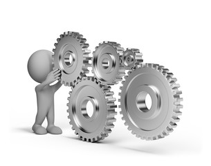 3d person with a gears wheel