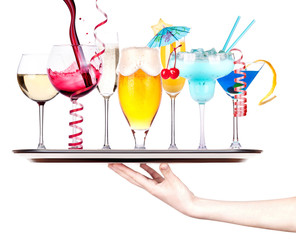 different images of alcohol on a waitress tray