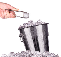 ice bucket with tongs isolated
