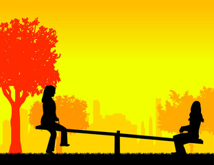 Girls in the park on a seesaw silhouette layered