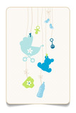 Gift Card Hanging Baby Symbols Boy Retro Dots