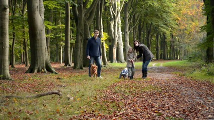 family with children walking in forrest