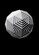 Sphere with black and white triangular striped faces