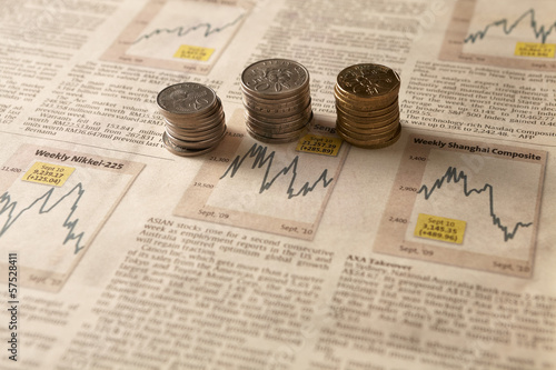 Newspaper stock market with money