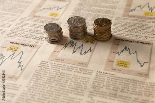 Newspaper stock market with money
