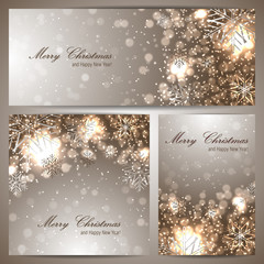Set of three christmas banners with snowflakes