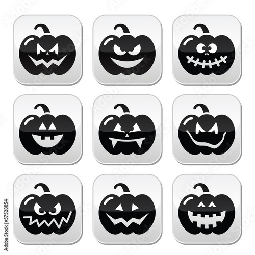 Halloween pumkin vector buttons set