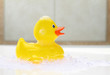 Yellow rubber duck in bath foam