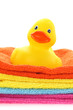 Rubber yellow duck with towels