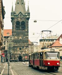 Tram at old street in Prague