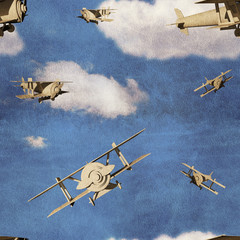 Seamless pattern with 3d airplanes in blue sky with clouds