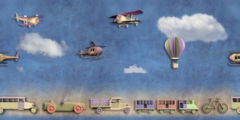 Fun seamless pattern with retro transportation toys
