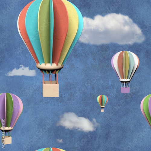 Fototapeta Seamless pattern with 3d air balloons in blue sky