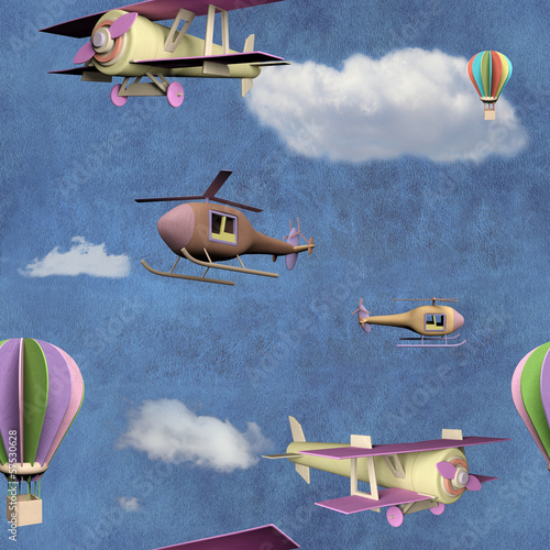 Seamless pattern with flying transportation toys
