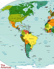 The Americas earth map continent country