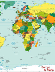 Europe Africa world map continent country
