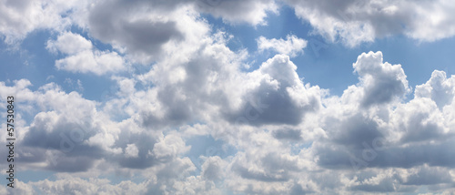 Blue sky with gray clouds