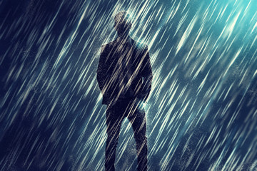 Mysterious Man in the Rain
