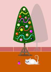 Decoración navideña y gatos