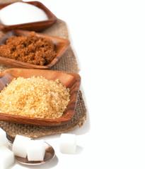 Different types of sugar - Demerara, Brown, White and Refined Su