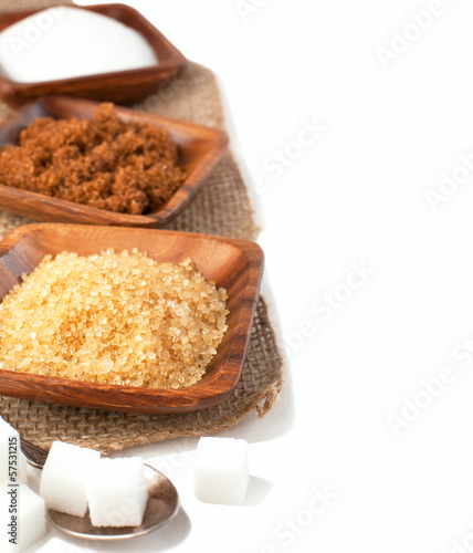 Different types of sugar - Demerara, Brown, White and Refined Su