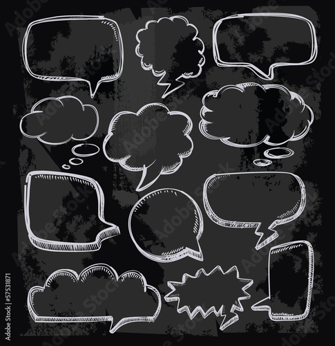 speech bubbles on chalkboard