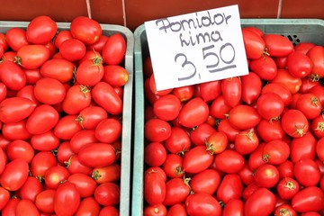 Tomatoes at a market in Poland