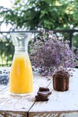 Chocolate muffin and orange juice