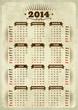 Vintage styled 2014 calendar