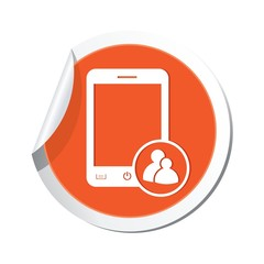 Phone with group icon. Vector illustration
