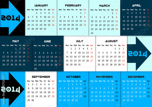 Blue infographic calendar 2014 with arrows