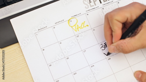 Job interview day written on calendar