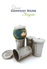 Blue earth thrown away in the dustbin