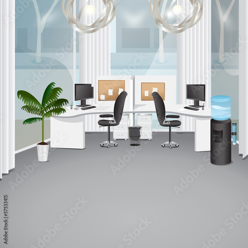 Modern Office - Vector Illustration, Graphic Design