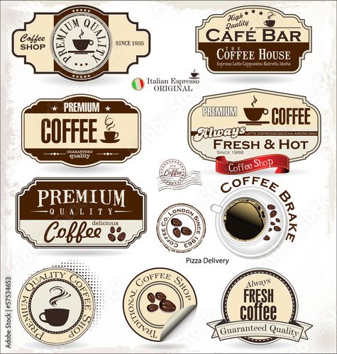 Coffee badge and labels