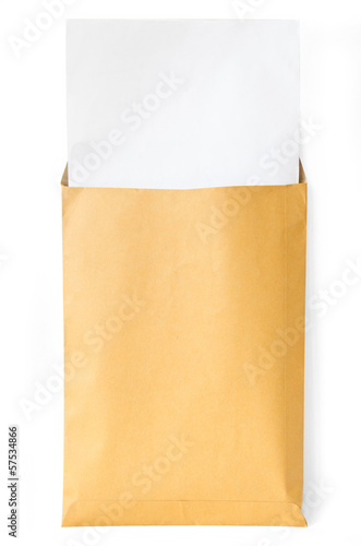 Brown envelope and paper inside