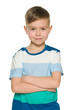Smiling young boy on the white background