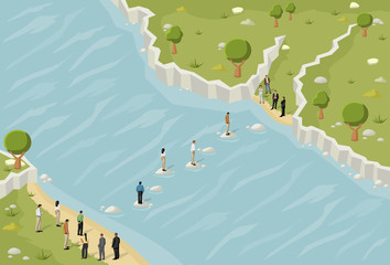 Business people trying to cross a river