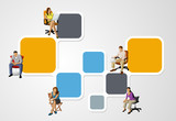 colorful template for brochure with people on chair