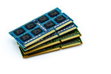 Stack of DDR RAM sticks on isolated background