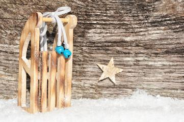 Schlitten-Werbehinergrund aus Holz
